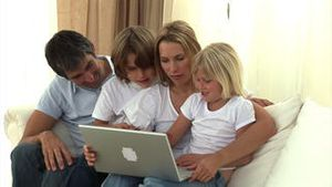 United family surfing on the internet