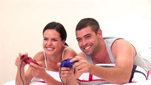 Animation of a couple playing video games