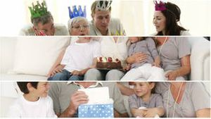 Montage of families celebrating a birthday
