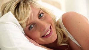 Young blonde haired woman resting