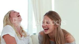 Laughing friends talking to each other
