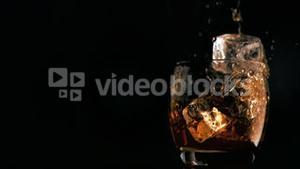 Ice cubes falling in super slow motion