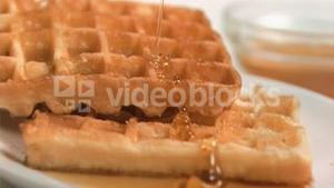 Maple syrup flowing in super slow motion