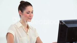 Young woman using a computer