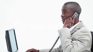 Businessman picking up the phone