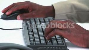 Close up on a black businessman hands