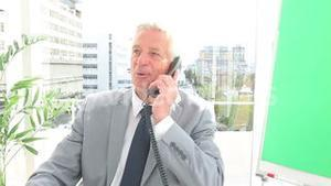 Happy businessman making a phone call
