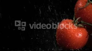 Rain in super slow motion falling on tomatoes