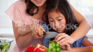 Woman cutting a green pepper with her daughter