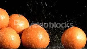Tasty oranges in super slow motion receiving water