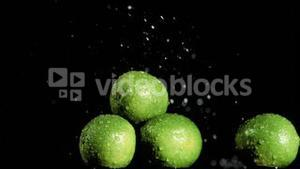 Limes in super slow motion receiving water