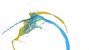 Yellow and blue paint in super slow motion splashing