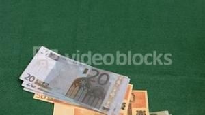 Euro banknotes thrown in super slow motion