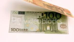 European banknotes blown in super slow motion