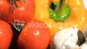 Ingredients watered in super slow motion