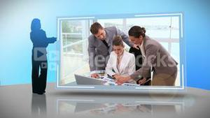 Business people working together on different devices