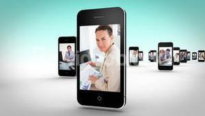 Business videos on smartphone screens