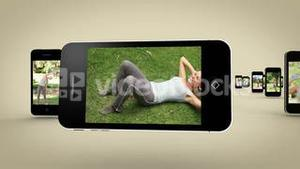 Videos of women working out on smartphone screen