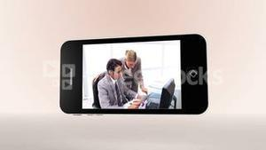 Videos of colleagues working together on smartphone screens