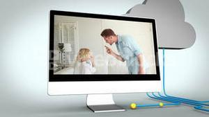 Videos of parents scolding their child on multiple devices screens
