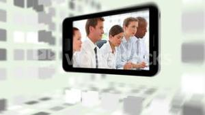 Videos of business meetings on a smartphone screen