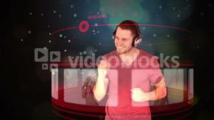 Futuristic animation with a man selecting music on screens