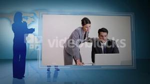 Businessmen and women working together