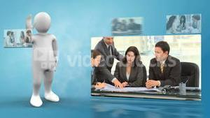 Robot presenting videos of business life