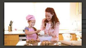 Happy families baking together