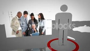 Silhouette presenting business people working