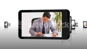 Videos of working business people on smartphone screens