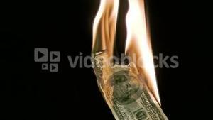 Fire in super slow motion burning a bank note