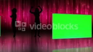 Silhouette of women dancing with screens in chroma key