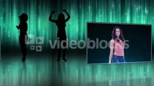 Women dancing with a blue light background