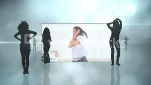 Female silhouettes and women dancing