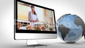 Videos of healthy cooking on devices with an earth courtesy of Nasa.org