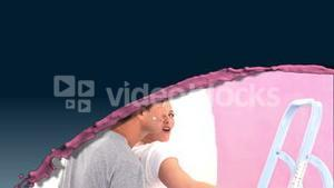 Pink splash with videos of a couple painting