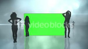 Chroma key screens with silhouette dancing