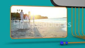 Animation of family videos on the beach