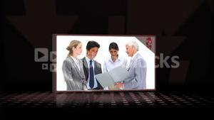 Videos of business people against a black background