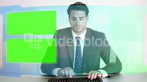 Business people looking at chroma key screens