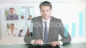 Business people looking at a futuristic screen