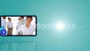 Portraits of business people against turquoise background