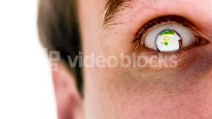 Man with the world turning in super slow motion in his eye