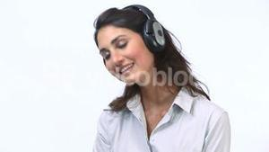 Woman listening music with closed eyes