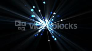 Blue dots moving and coming from a shining star