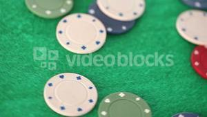 Gambling coins thrown on a gambling table