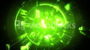 Green figures and letters floating