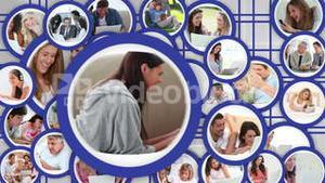 Mouse icon selecting media communication video from many