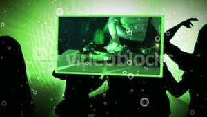 Montage of clubbing and music videos on animated background